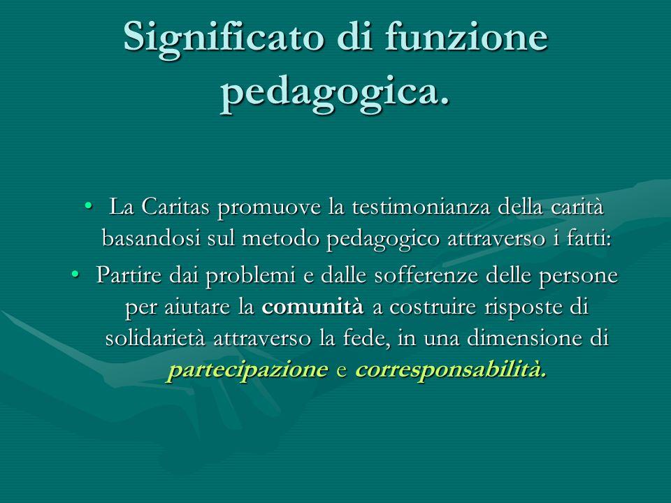 La Caritas promuove la testimonianza della carità basandosi sul metodo pedagogico attraverso i fatti:La Caritas promuove la testimonianza della carità