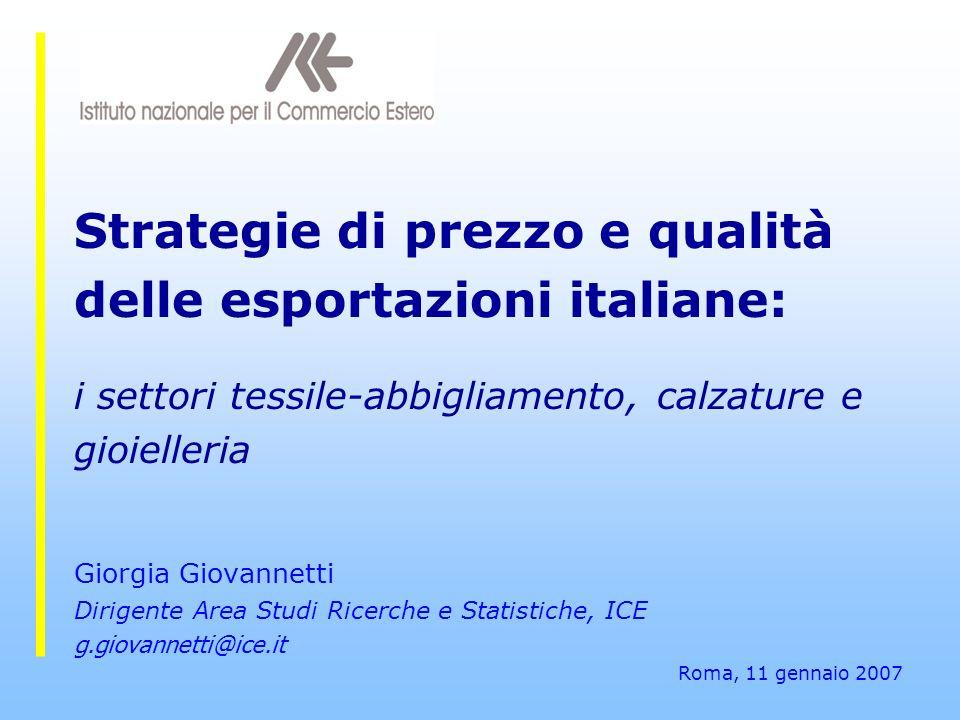 Strategie di prezzo e qualità delle esportazioni italiane: i settori tessile-abbigliamento, calzature e gioielleria Giorgia Giovannetti Dirigente Area