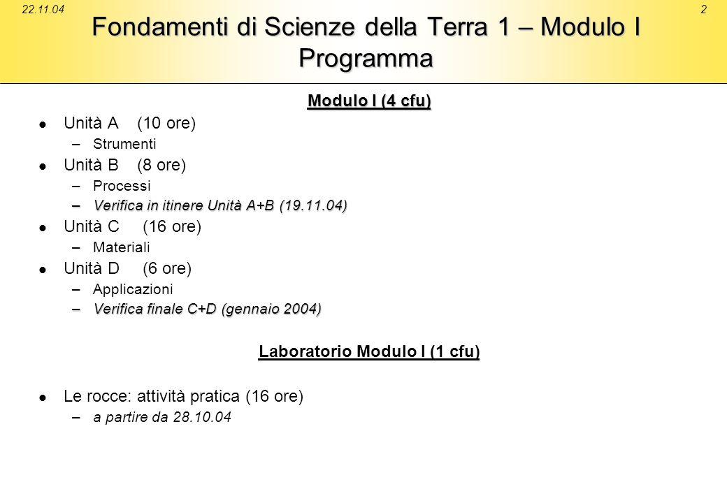 22.11.042 Fondamenti di Scienze della Terra 1 – Modulo I Programma Modulo I (4 cfu) Unità A (10 ore) – –Strumenti Unità B (8 ore) – –Processi –Verific
