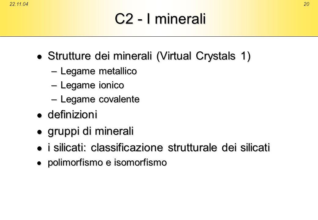 22.11.0420 C2 - I minerali Strutture dei minerali (Virtual Crystals 1) Strutture dei minerali (Virtual Crystals 1) –Legame metallico –Legame ionico –L