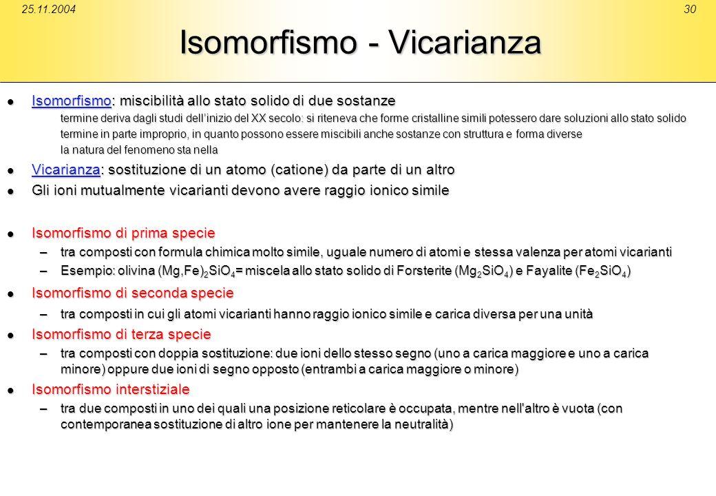 25.11.200430 Isomorfismo - Vicarianza Isomorfismo: miscibilità allo stato solido di due sostanze Isomorfismo: miscibilità allo stato solido di due sos