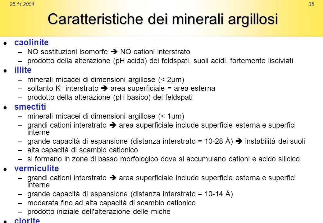 25.11.200435 Caratteristiche dei minerali argillosi caolinite –NO sostituzioni isomorfe NO cationi interstrato –prodotto della alterazione (pH acido)