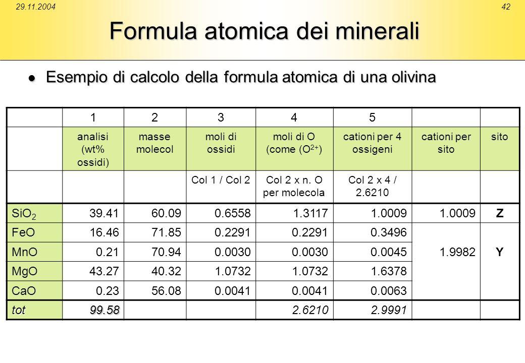 29.11.200442 Formula atomica dei minerali Esempio di calcolo della formula atomica di una olivina Esempio di calcolo della formula atomica di una oliv