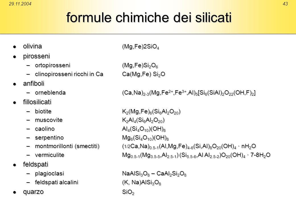 29.11.200443 formule chimiche dei silicati olivina (Mg,Fe)2SiO 4 olivina (Mg,Fe)2SiO 4 pirosseni pirosseni –ortopirosseni(Mg,Fe)Si 2 O 6 –clinopirosse
