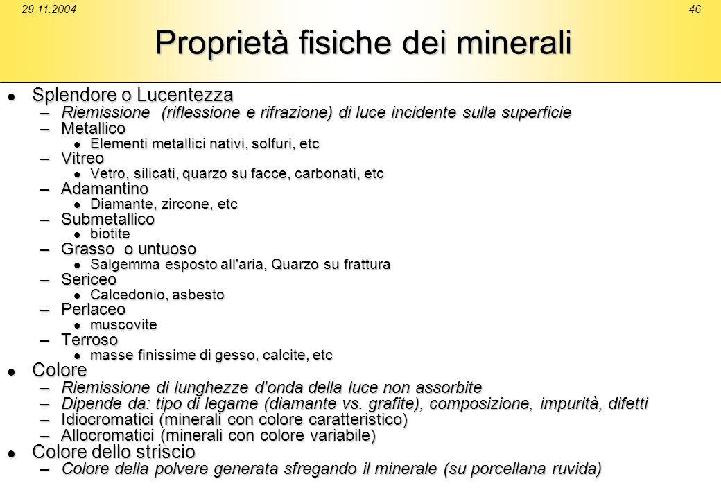 29.11.200446 Proprietà fisiche dei minerali Splendore o Lucentezza Splendore o Lucentezza –Riemissione (riflessione e rifrazione) di luce incidente su