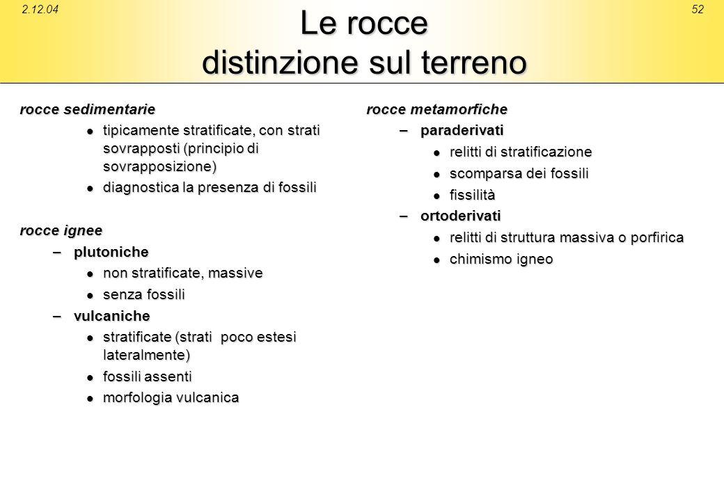 2.12.0452 Le rocce distinzione sul terreno rocce sedimentarie tipicamente stratificate, con strati sovrapposti (principio di sovrapposizione) tipicame