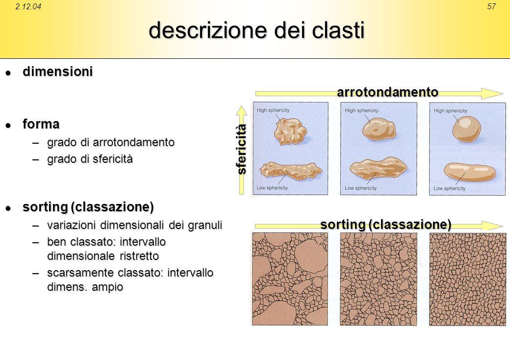 2.12.0457 descrizione dei clasti dimensioni dimensioni forma forma –grado di arrotondamento –grado di sfericità sorting (classazione) sorting (classaz