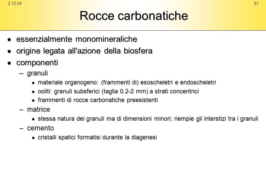 2.12.0461 Rocce carbonatiche essenzialmente monomineraliche essenzialmente monomineraliche origine legata all'azione della biosfera origine legata all