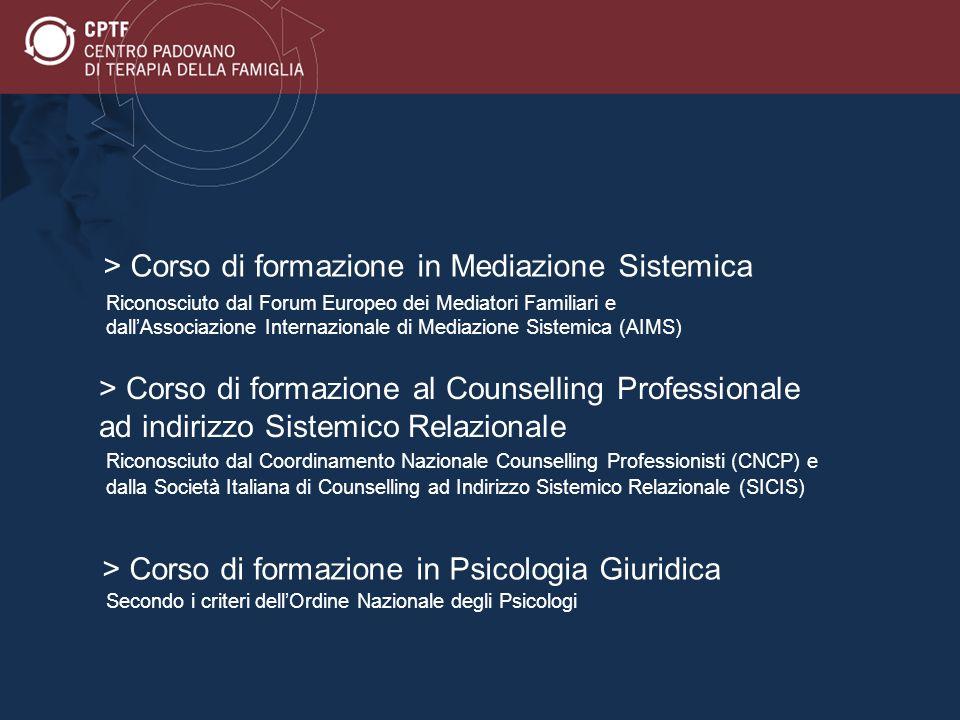 > Corso di formazione al Counselling Professionale ad indirizzo Sistemico Relazionale Riconosciuto dal Coordinamento Nazionale Counselling Professioni