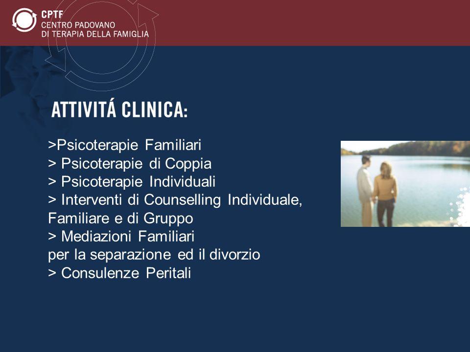 >Psicoterapie Familiari > Psicoterapie di Coppia > Psicoterapie Individuali > Interventi di Counselling Individuale, Familiare e di Gruppo > Mediazion