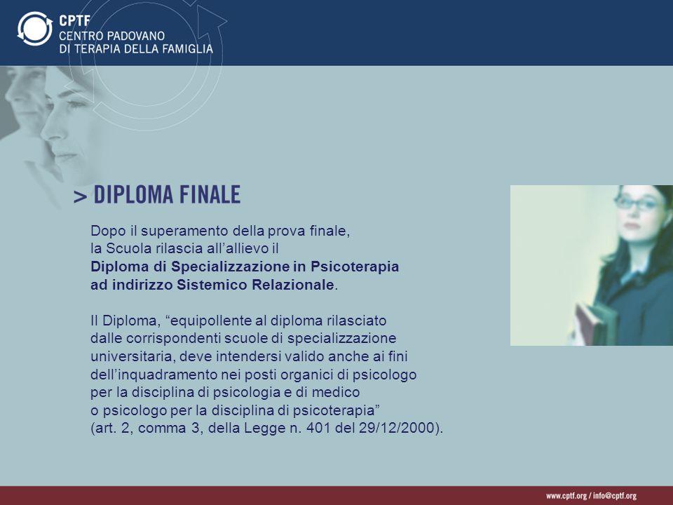 Dopo il superamento della prova finale, la Scuola rilascia allallievo il Diploma di Specializzazione in Psicoterapia ad indirizzo Sistemico Relazional