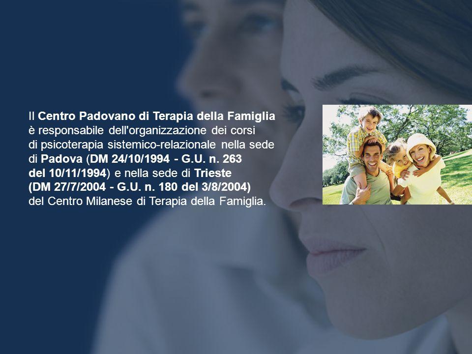 Il Centro Padovano di Terapia della Famiglia è responsabile dell'organizzazione dei corsi di psicoterapia sistemico-relazionale nella sede di Padova (
