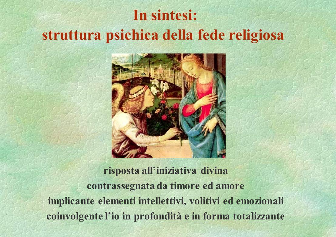 In sintesi: struttura psichica della fede religiosa risposta alliniziativa divina contrassegnata da timore ed amore implicante elementi intellettivi,