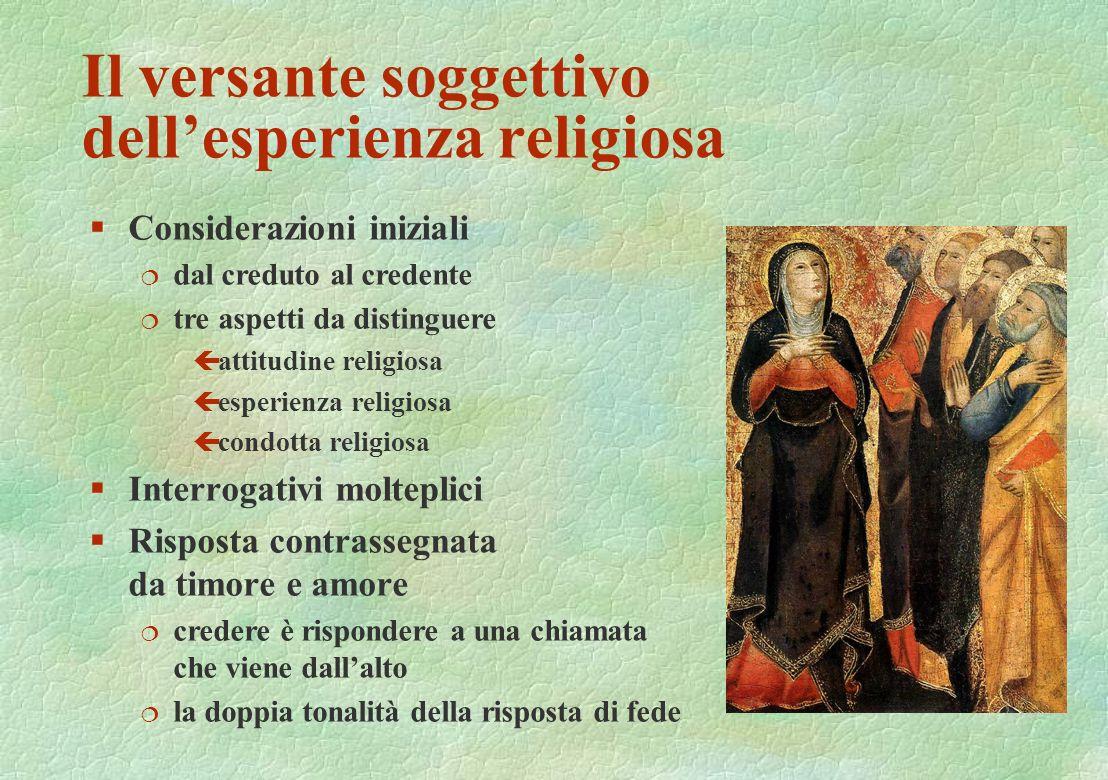 Il versante soggettivo dellesperienza religiosa §Considerazioni iniziali ¦ dal creduto al credente ¦ tre aspetti da distinguere çattitudine religiosa