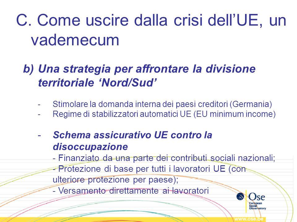 C. Come uscire dalla crisi dellUE, un vademecum b)Una strategia per affrontare la divisione territoriale Nord/Sud -Stimolare la domanda interna dei pa