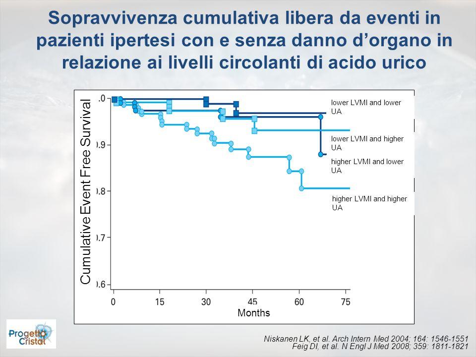 Cumulative Event Free Survival Months lower LVMI and lower UA lower LVMI and higher UA higher LVMI and lower UA higher LVMI and higher UA Sopravvivenz