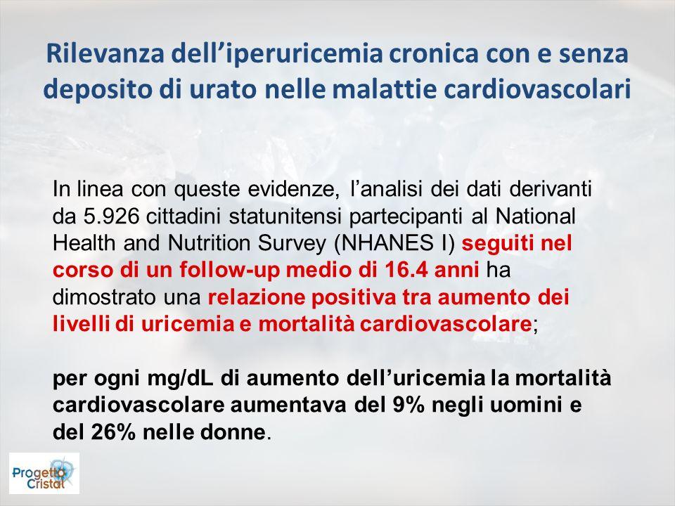 Rilevanza delliperuricemia cronica con e senza deposito di urato nelle malattie cardiovascolari In linea con queste evidenze, lanalisi dei dati deriva
