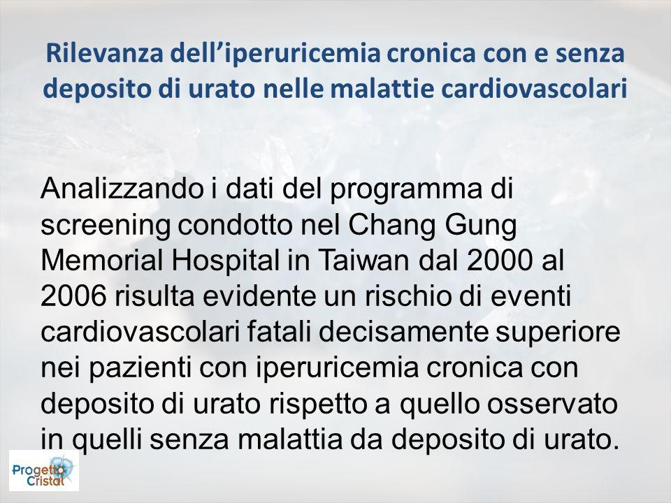 Rilevanza delliperuricemia cronica con e senza deposito di urato nelle malattie cardiovascolari Analizzando i dati del programma di screening condotto