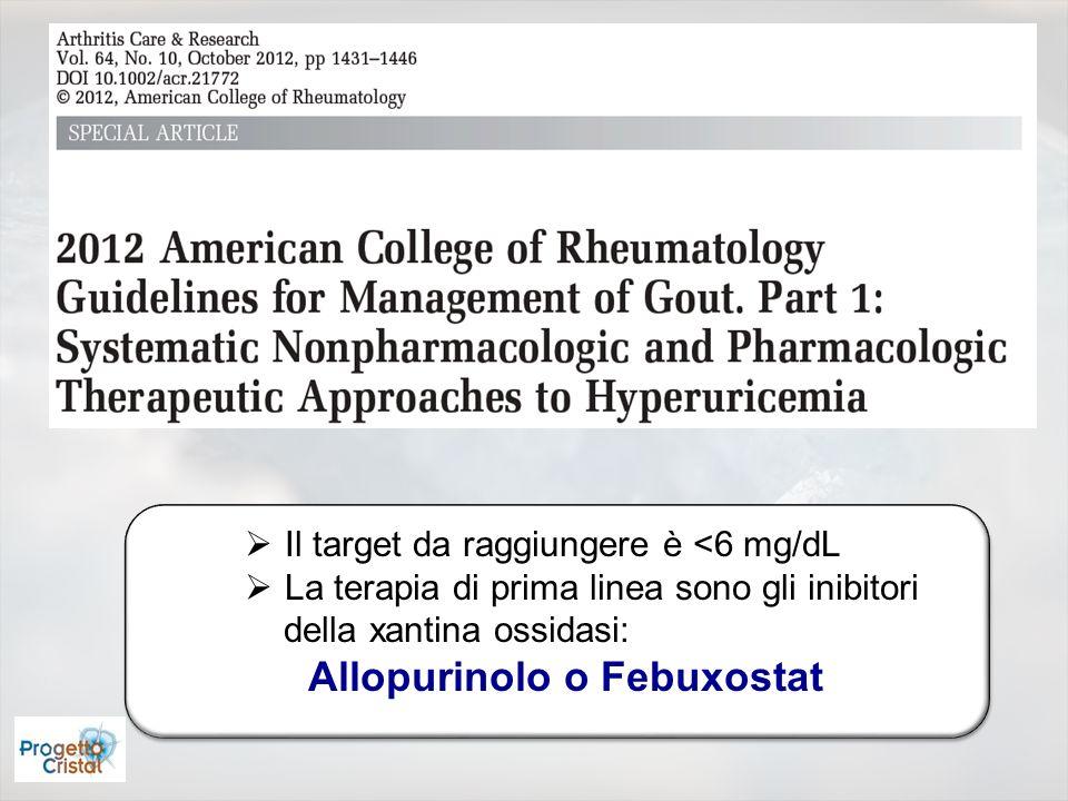 Il target da raggiungere è <6 mg/dL La terapia di prima linea sono gli inibitori della xantina ossidasi: Allopurinolo o Febuxostat