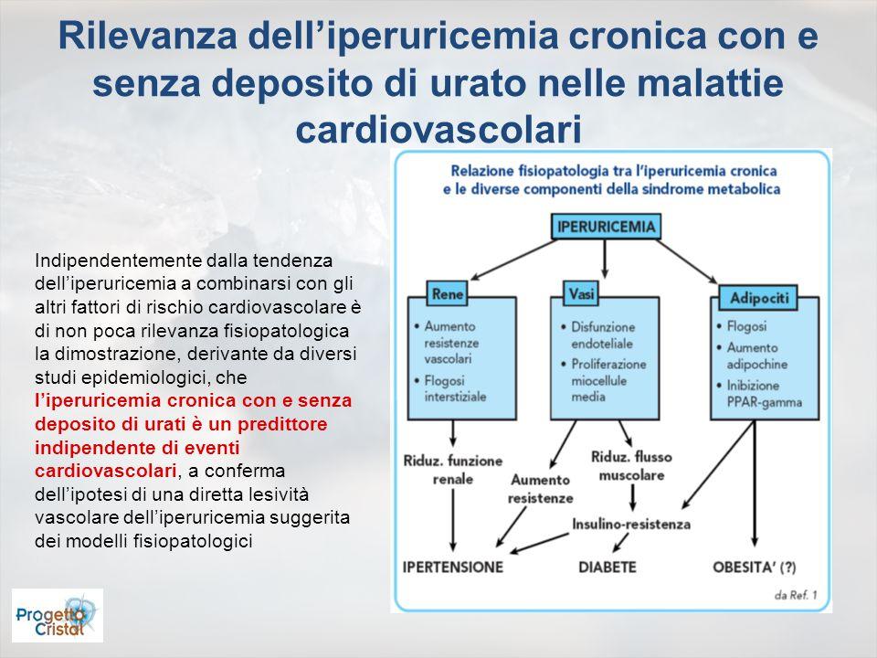 Rilevanza delliperuricemia cronica con e senza deposito di urato nelle malattie cardiovascolari Indipendentemente dalla tendenza delliperuricemia a co