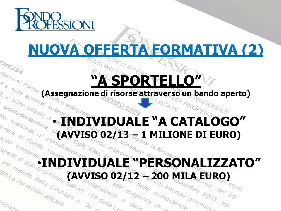 NUOVA OFFERTA FORMATIVA (2) A SPORTELLO (Assegnazione di risorse attraverso un bando aperto) INDIVIDUALE A CATALOGO (AVVISO 02/13 – 1 MILIONE DI EURO)