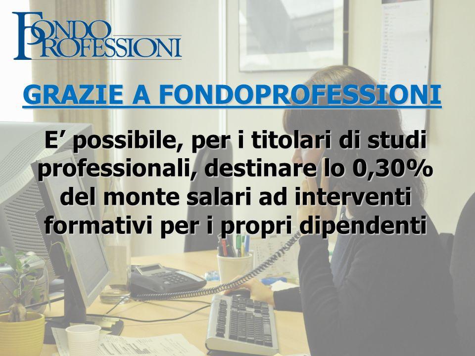 GRAZIE A FONDOPROFESSIONI E possibile, per i titolari di studi professionali, destinare lo 0,30% del monte salari ad interventi formativi per i propri