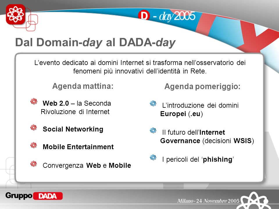 2 Levento dedicato ai domini Internet si trasforma nellosservatorio dei fenomeni più innovativi dellidentità in Rete. Agenda mattina: Web 2.0 – la Sec