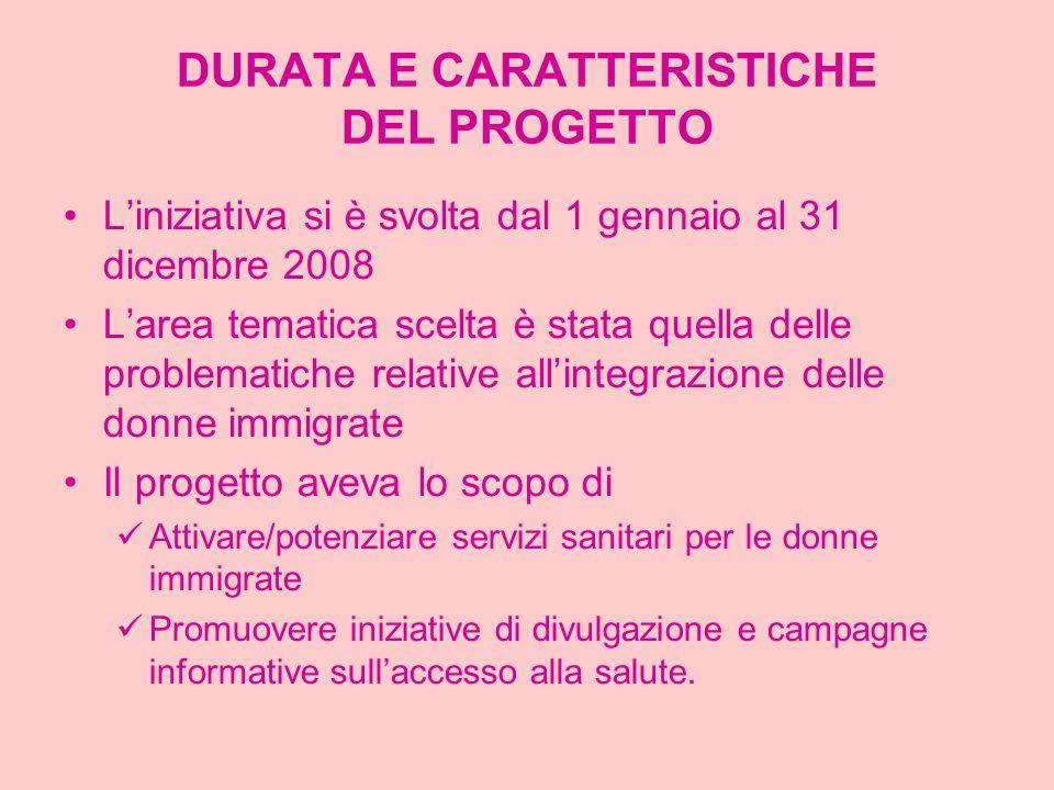 DURATA E CARATTERISTICHE DEL PROGETTO Liniziativa si è svolta dal 1 gennaio al 31 dicembre 2008 Larea tematica scelta è stata quella delle problematic