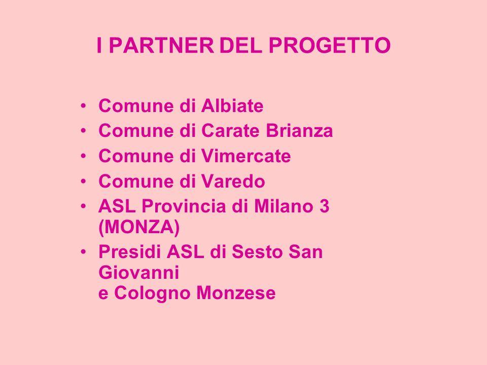 I PARTNER DEL PROGETTO Comune di Albiate Comune di Carate Brianza Comune di Vimercate Comune di Varedo ASL Provincia di Milano 3 (MONZA) Presidi ASL d