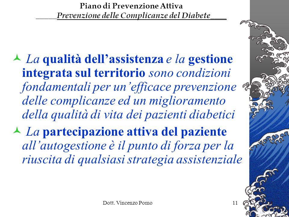 Dott. Vincenzo Pomo11 La qualità dellassistenza e la gestione integrata sul territorio sono condizioni fondamentali per unefficace prevenzione delle c
