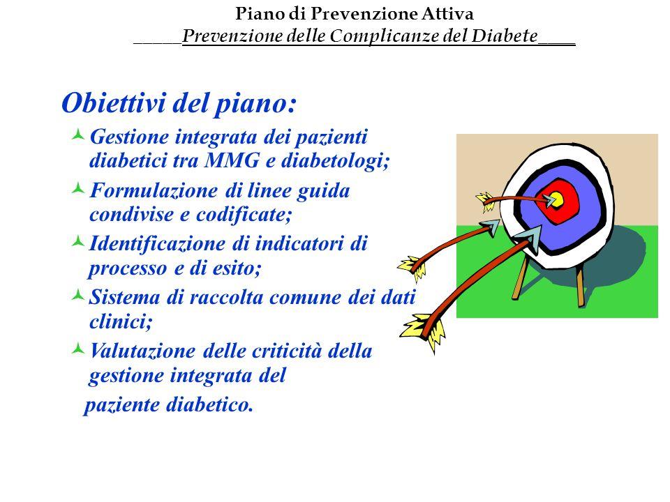 Obiettivi del piano: Gestione integrata dei pazienti diabetici tra MMG e diabetologi; Formulazione di linee guida condivise e codificate; Identificazi