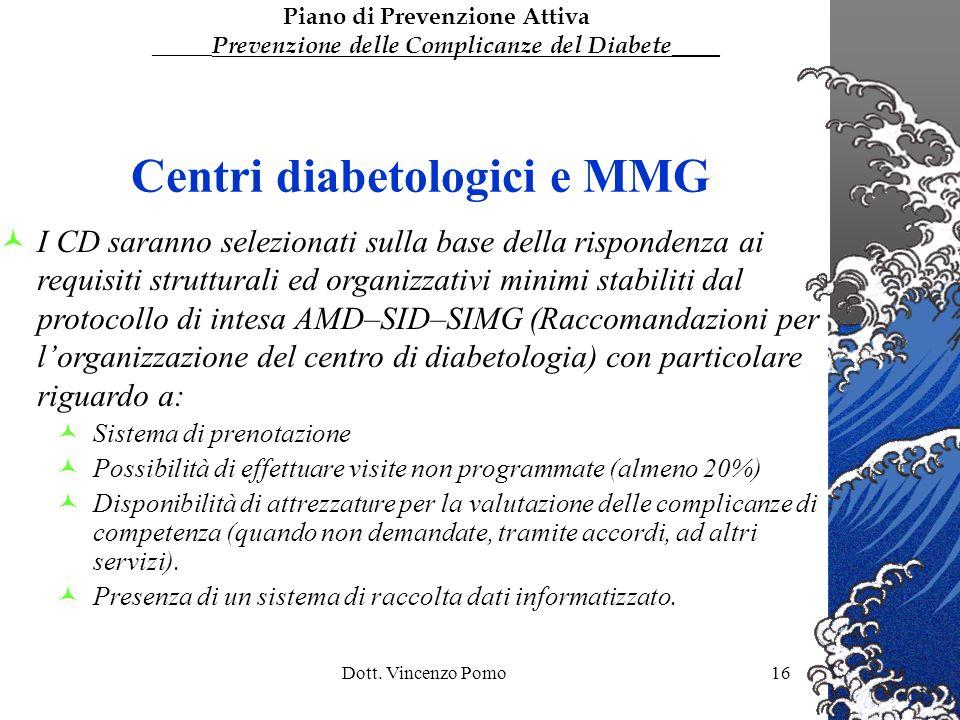 Dott. Vincenzo Pomo16 Centri diabetologici e MMG I CD saranno selezionati sulla base della rispondenza ai requisiti strutturali ed organizzativi minim