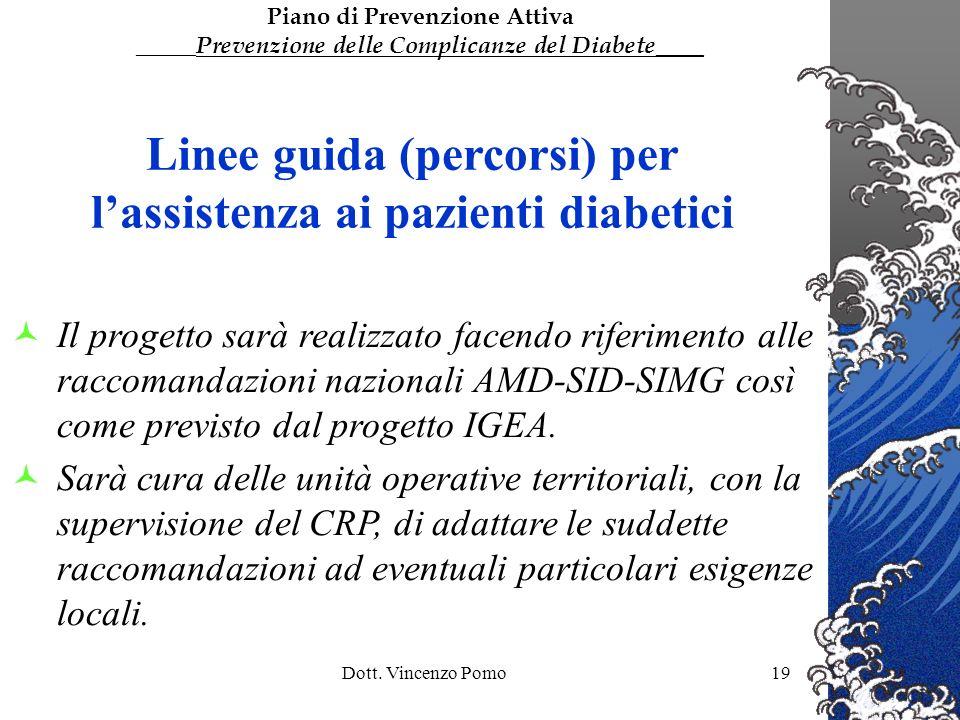 Dott. Vincenzo Pomo19 Linee guida (percorsi) per lassistenza ai pazienti diabetici Il progetto sarà realizzato facendo riferimento alle raccomandazion