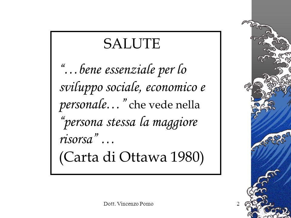 Dott. Vincenzo Pomo2 SALUTE …bene essenziale per lo sviluppo sociale, economico e personale… che vede nella persona stessa la maggiore risorsa … (Cart