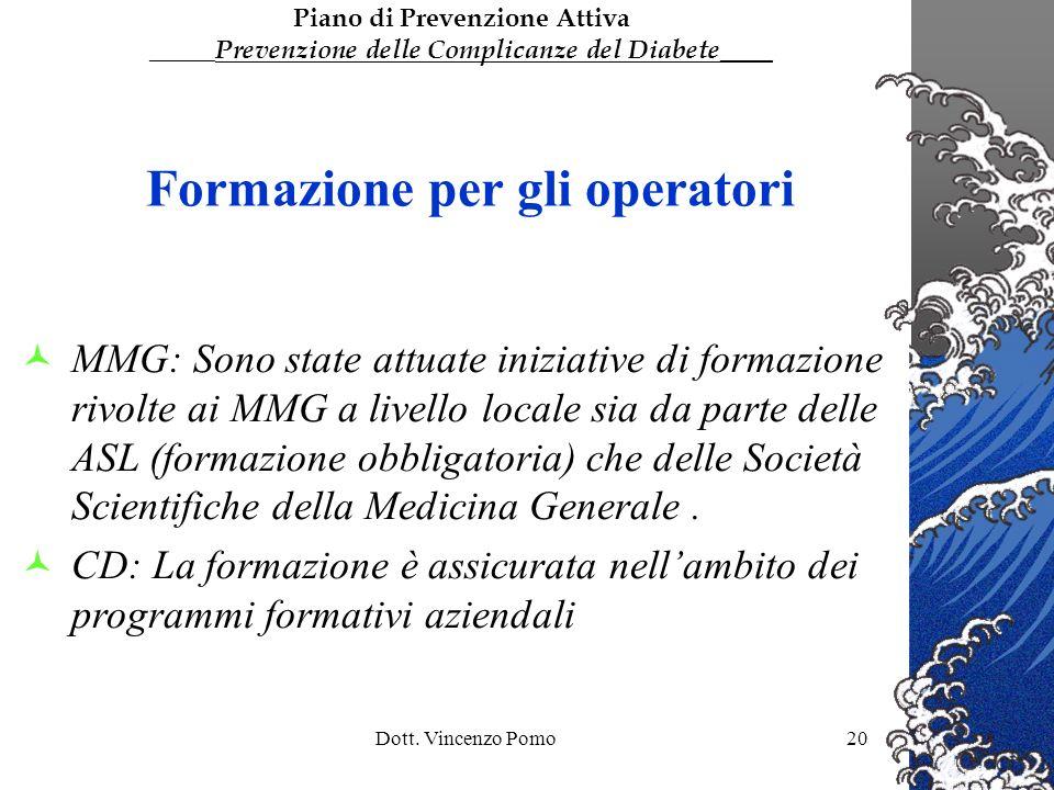 Dott. Vincenzo Pomo20 Formazione per gli operatori MMG: Sono state attuate iniziative di formazione rivolte ai MMG a livello locale sia da parte delle