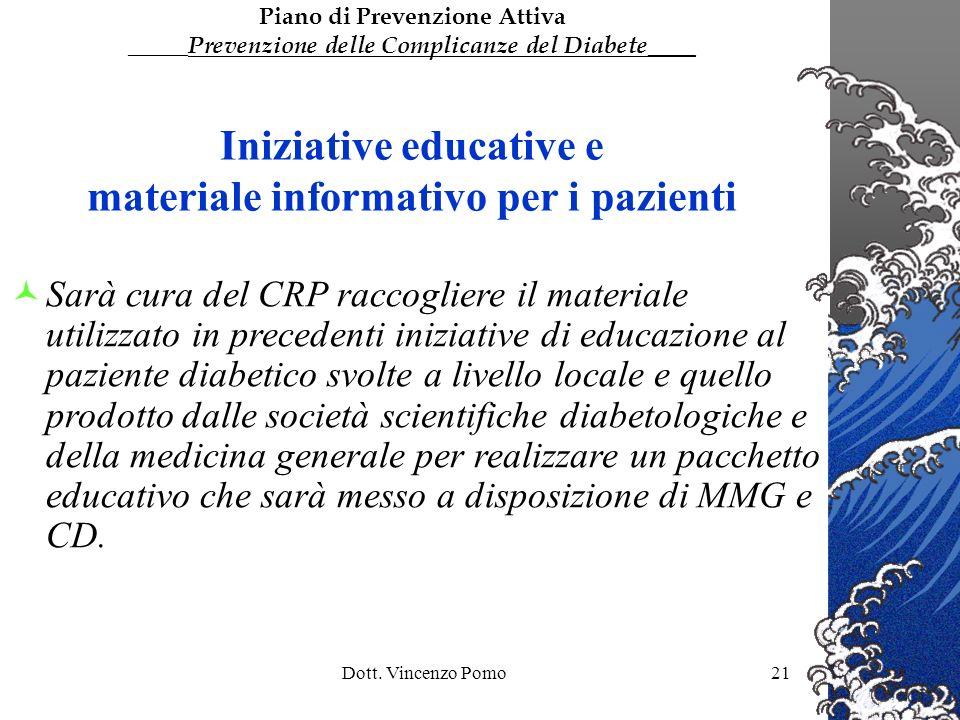 Dott. Vincenzo Pomo21 Iniziative educative e materiale informativo per i pazienti Sarà cura del CRP raccogliere il materiale utilizzato in precedenti