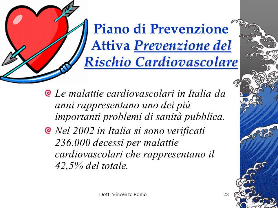 Dott. Vincenzo Pomo28 Le malattie cardiovascolari in Italia da anni rappresentano uno dei più importanti problemi di sanità pubblica. Nel 2002 in Ital