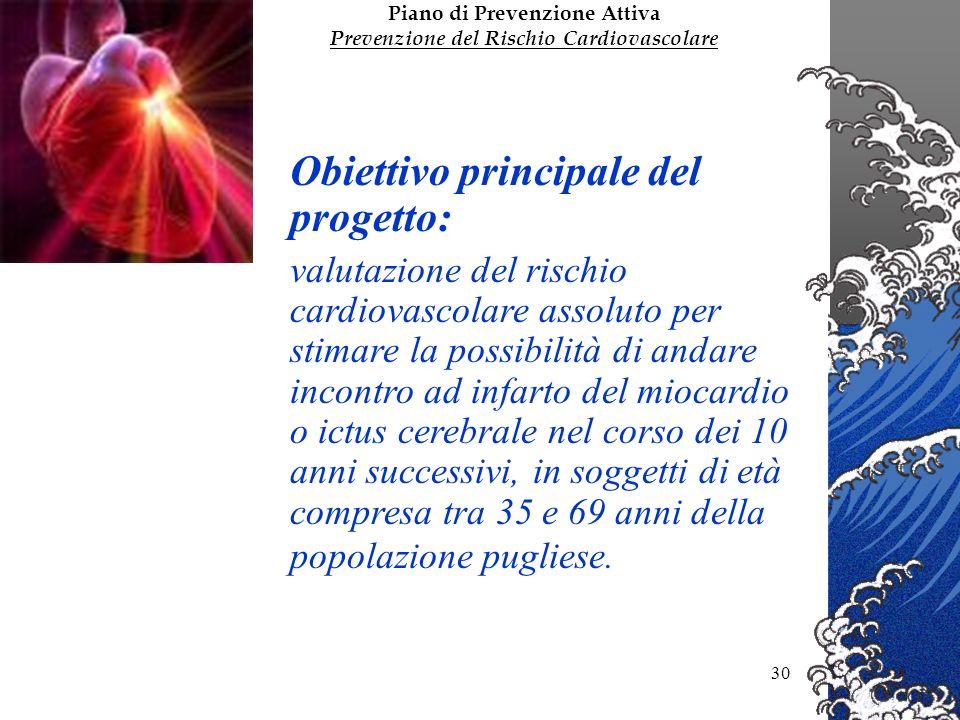 Dott. Vincenzo Pomo30 Obiettivo principale del progetto: valutazione del rischio cardiovascolare assoluto per stimare la possibilità di andare incontr