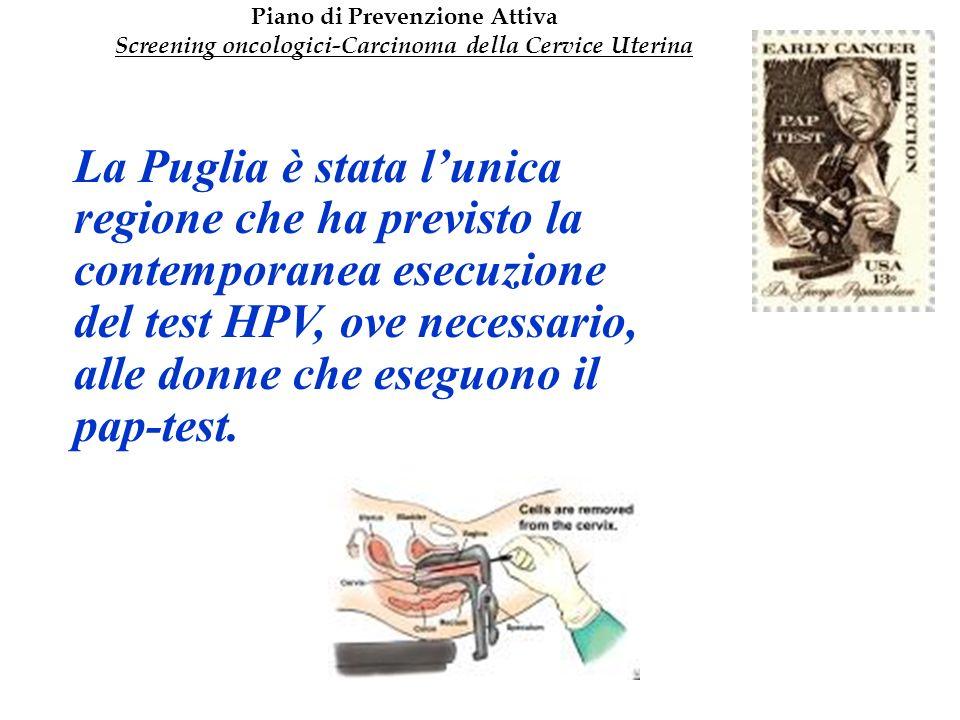 La Puglia è stata lunica regione che ha previsto la contemporanea esecuzione del test HPV, ove necessario, alle donne che eseguono il pap-test. Piano