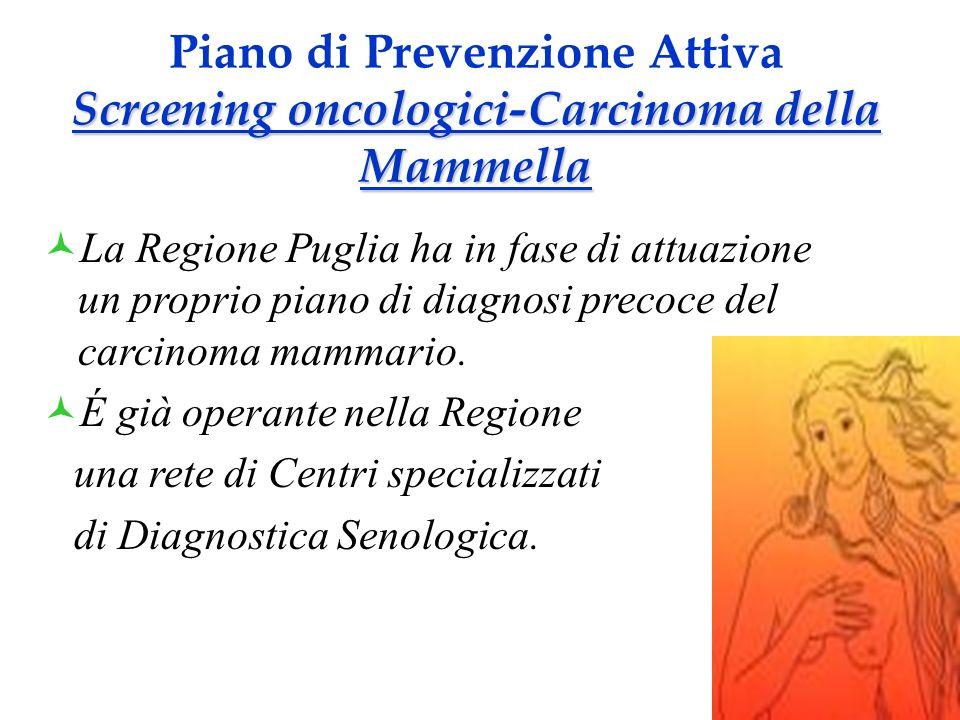 La Regione Puglia ha in fase di attuazione un proprio piano di diagnosi precoce del carcinoma mammario. É già operante nella Regione una rete di Centr