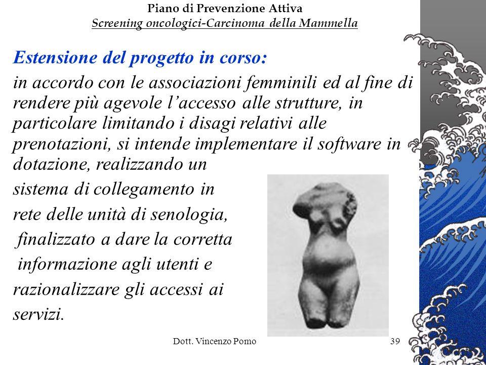 Dott. Vincenzo Pomo39 Estensione del progetto in corso: in accordo con le associazioni femminili ed al fine di rendere più agevole laccesso alle strut