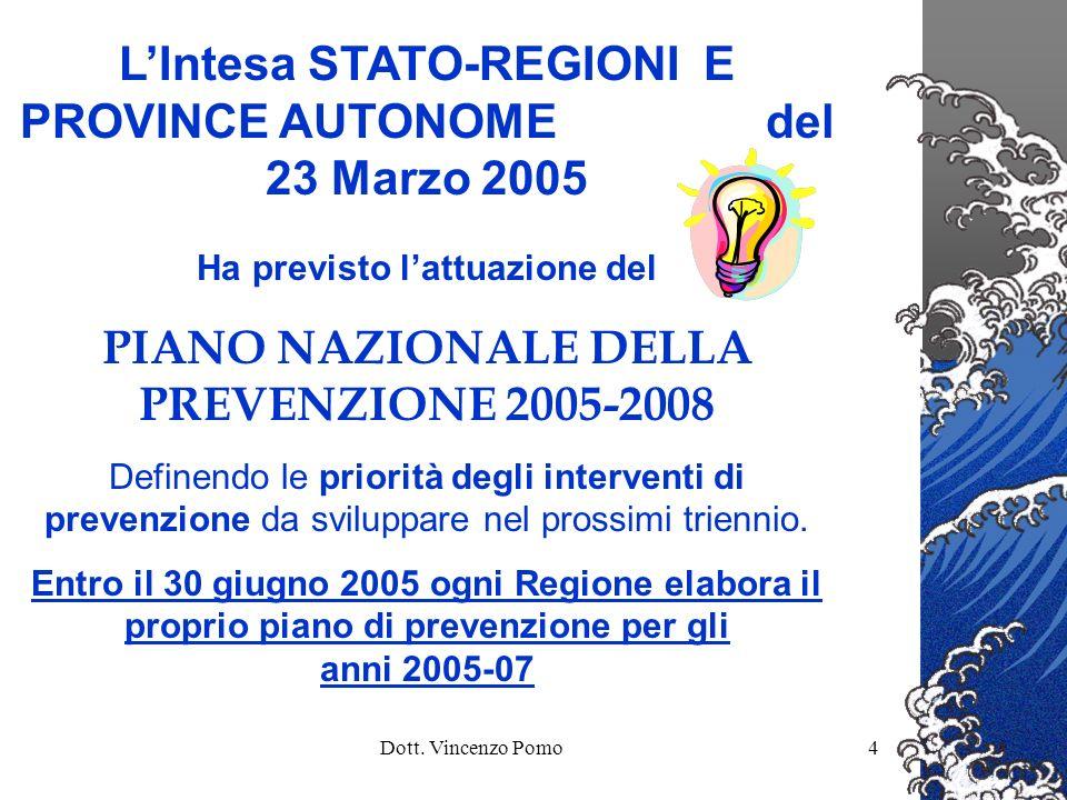 Dott. Vincenzo Pomo4 LIntesa STATO-REGIONI E PROVINCE AUTONOME del 23 Marzo 2005 Ha previsto lattuazione del PIANO NAZIONALE DELLA PREVENZIONE 2005-20
