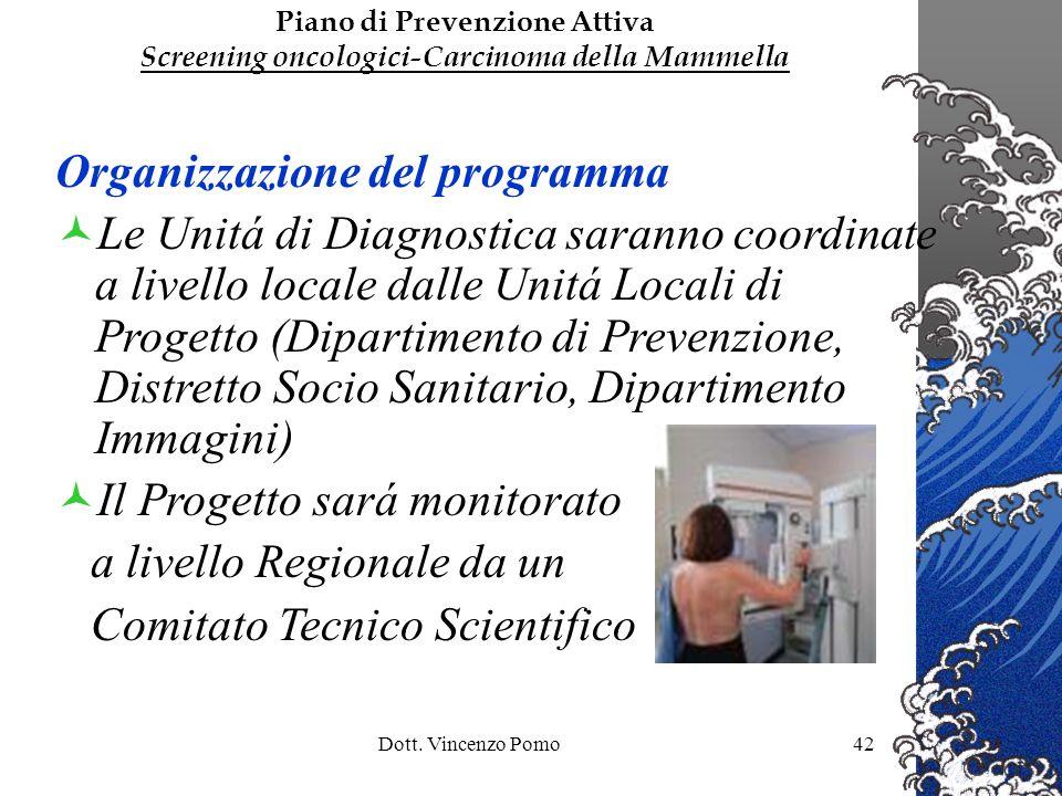 Dott. Vincenzo Pomo42 Organizzazione del programma Le Unitá di Diagnostica saranno coordinate a livello locale dalle Unitá Locali di Progetto (Diparti