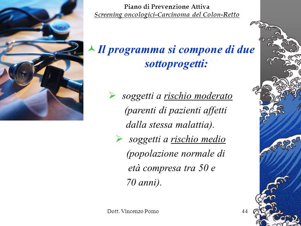 Dott. Vincenzo Pomo44 Il programma si compone di due sottoprogetti: soggetti a rischio moderato (parenti di pazienti affetti dalla stessa malattia). s