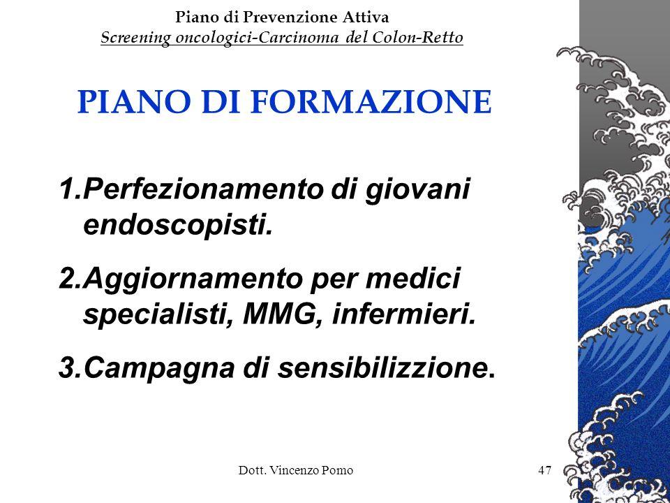 Dott. Vincenzo Pomo47 PIANO DI FORMAZIONE 1.Perfezionamento di giovani endoscopisti. 2.Aggiornamento per medici specialisti, MMG, infermieri. 3.Campag
