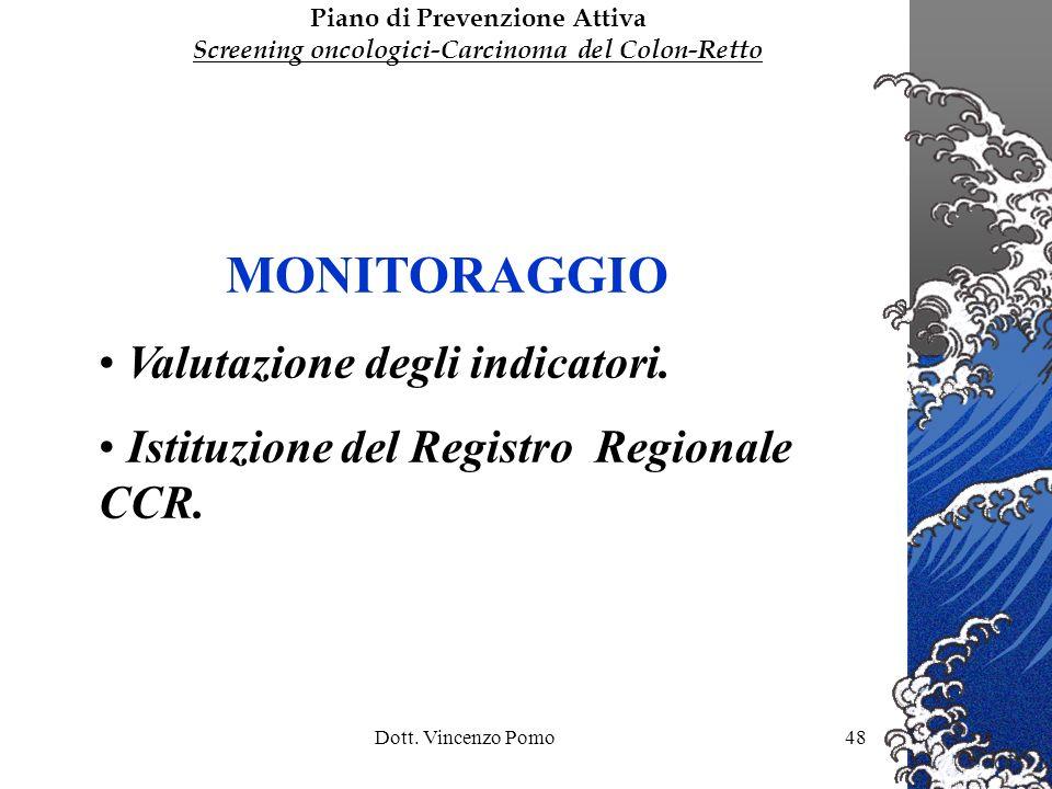 Dott. Vincenzo Pomo48 MONITORAGGIO Valutazione degli indicatori. Istituzione del Registro Regionale CCR. Piano di Prevenzione Attiva Screening oncolog