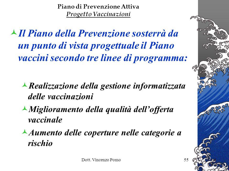 Dott. Vincenzo Pomo55 Il Piano della Prevenzione sosterrà da un punto di vista progettuale il Piano vaccini secondo tre linee di programma: Realizzazi