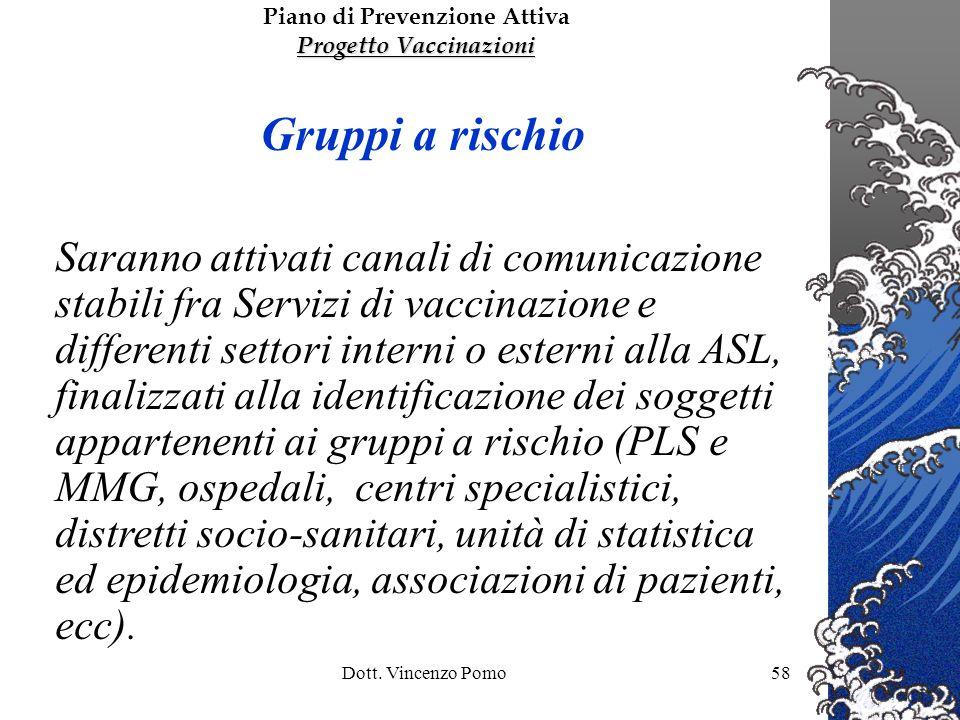 Dott. Vincenzo Pomo58 Gruppi a rischio Saranno attivati canali di comunicazione stabili fra Servizi di vaccinazione e differenti settori interni o est