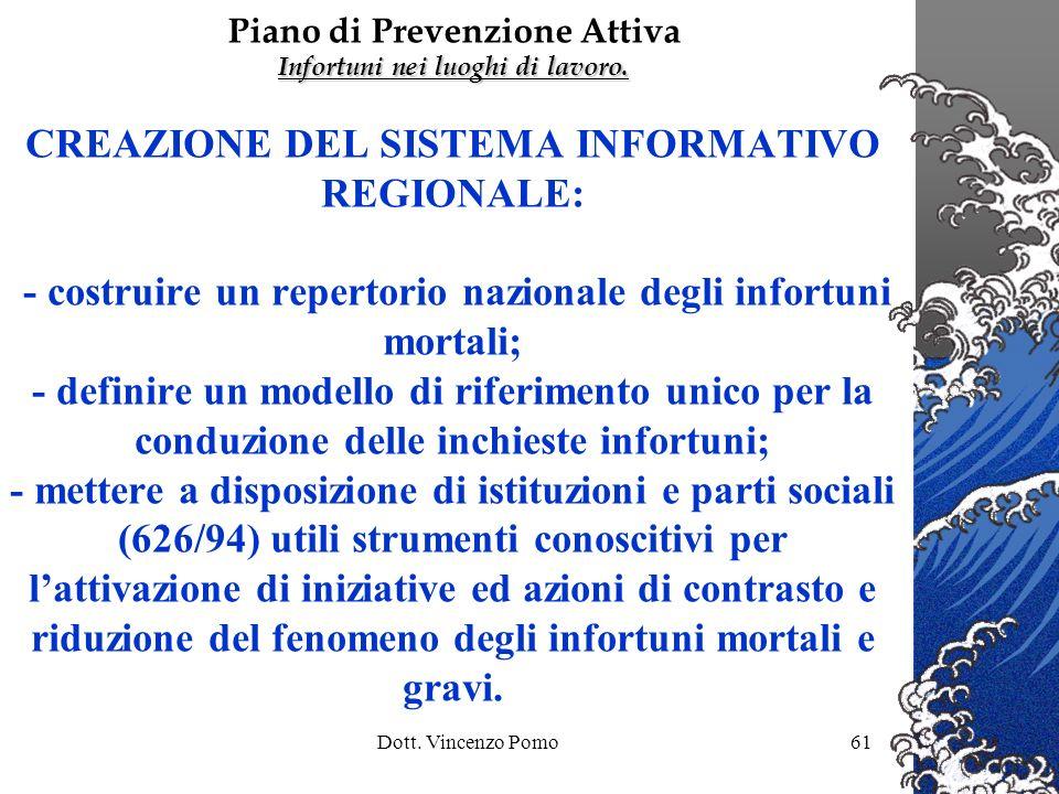 Dott. Vincenzo Pomo61 CREAZIONE DEL SISTEMA INFORMATIVO REGIONALE: - costruire un repertorio nazionale degli infortuni mortali; - definire un modello