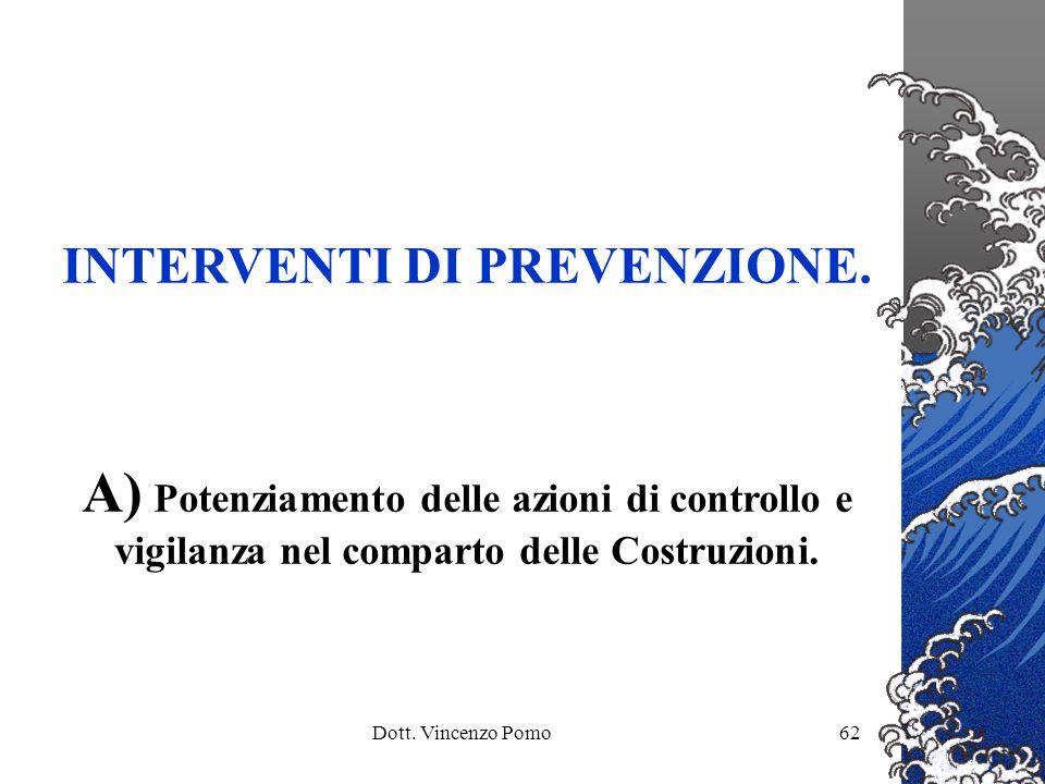 Dott. Vincenzo Pomo62 INTERVENTI DI PREVENZIONE. A) Potenziamento delle azioni di controllo e vigilanza nel comparto delle Costruzioni.